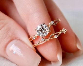 1 CT Dainty Twig Engagement Set, Rose Gold Branch Bridal Set, Nature Engagement Set