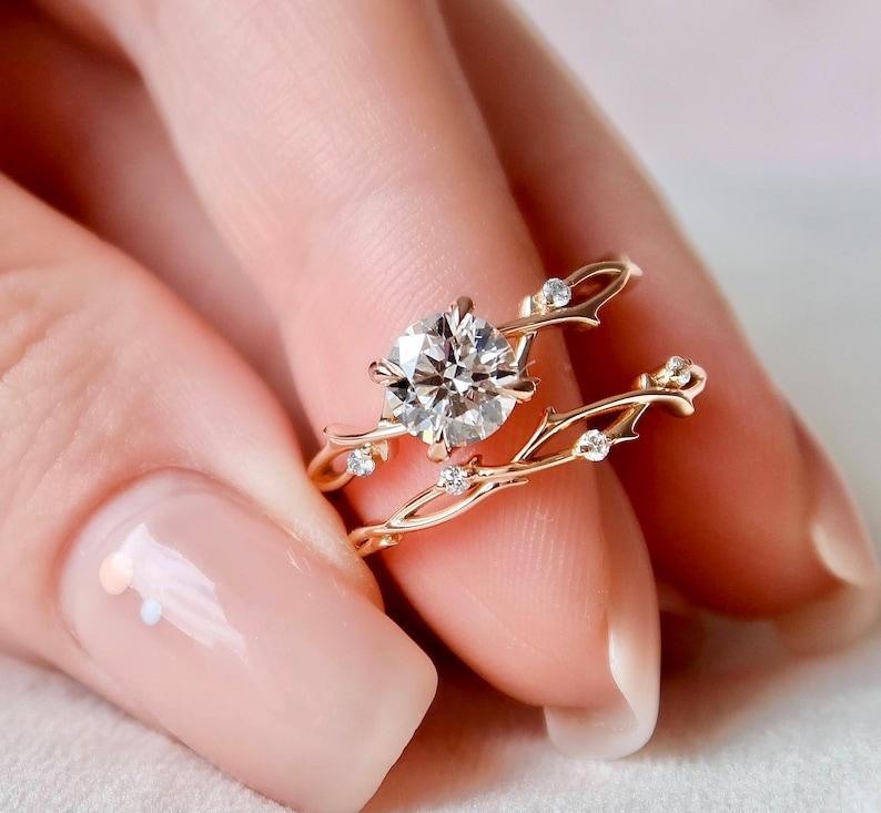 1 CT Dainty Twig Engagement Set Rose Gold Branch Bridal Set image 1