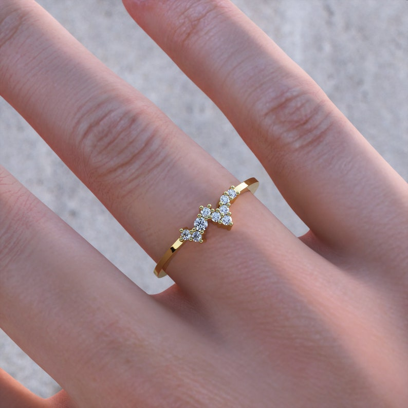 Dainty Diamond Cluster Ring. Minimalist Diamond Stackable image 1