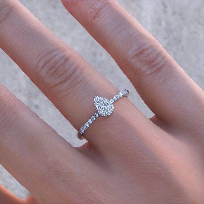 Dainty Diamond Cluster Ring Pear Shaped Cluster Diamond image 1