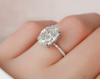 4 CT Oval Engagement Ring, Dainty Moissanite Engagement Ring, Hidden Halo