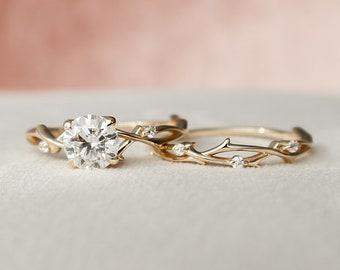 1 CT Round Twig Engagement Set, Alternative Nature Inspired Moissanite Bridal Set