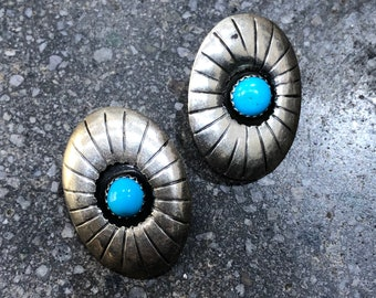 70's Turquoise Sterling Silver Clip On Earrings/ Clip On Earrings/ Silver Earrings/ Turquoise Earrings/ Gemstone Clip On/ 925