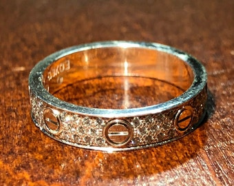 e439ce3284 Authentic Cartier Love Diamond Pave 18K White Gold Band Ring