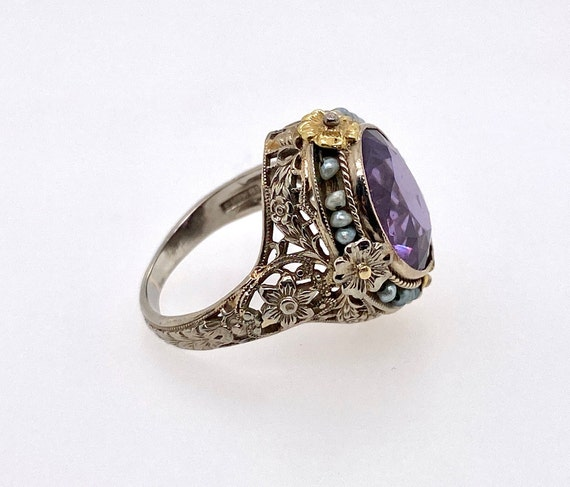 Vintage Synthetic Color Change Sapphire Pearl 18K… - image 5