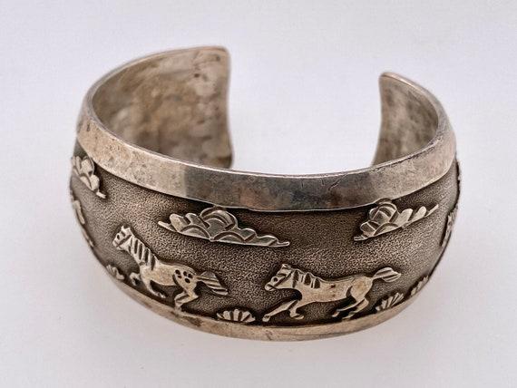 Vintage Horse Sterling Silver Cuff Bracelet