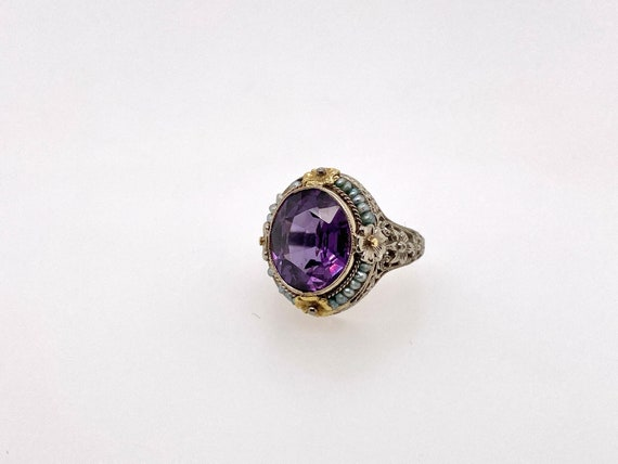 Vintage Synthetic Color Change Sapphire Pearl 18K… - image 1