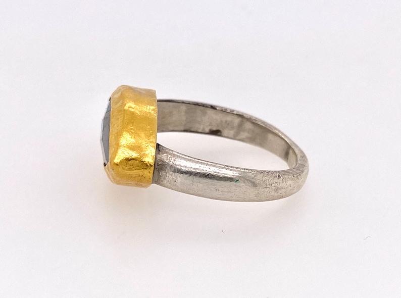 Vintage Labradorite 22K Yellow Gold Sterling Silver Statement Ring