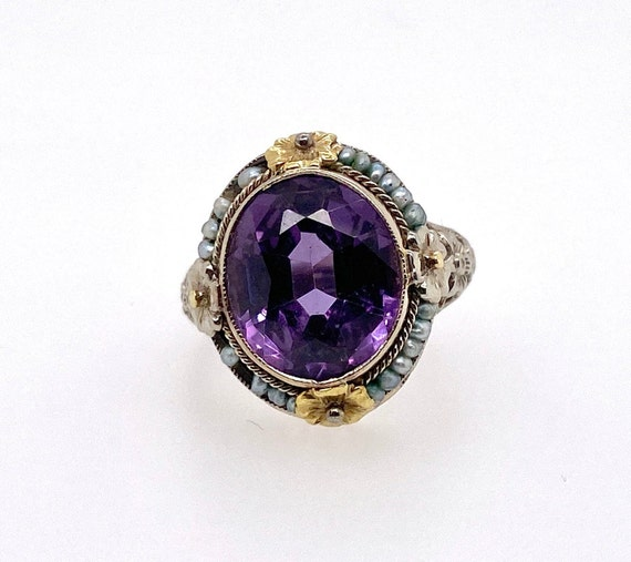 Vintage Synthetic Color Change Sapphire Pearl 18K… - image 2