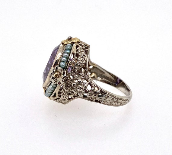 Vintage Synthetic Color Change Sapphire Pearl 18K… - image 3