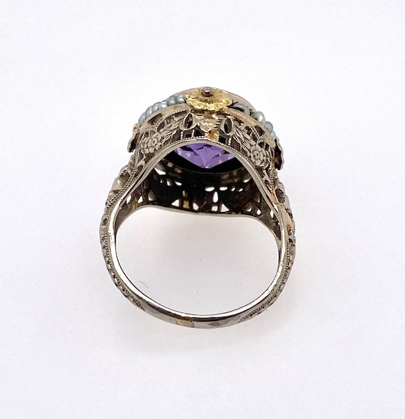 Vintage Synthetic Color Change Sapphire Pearl 18K… - image 4