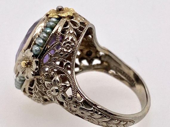 Vintage Synthetic Color Change Sapphire Pearl 18K… - image 7