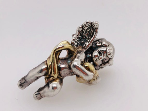Cupid Cherub Sterling Silver Brooch/ Pendant