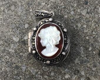 Vintage Silver Cameo Locket Pendant
