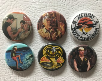 Karate Kid magnets or pin back buttons. Set of 6.