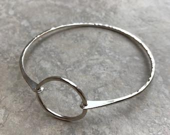 Sterling Silver Hammered Hoop Bangle