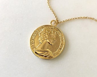 Gold pendant necklace etsy gold coin necklace mozeypictures Images