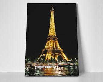 Eiffel Tower Night Poster or Canvas