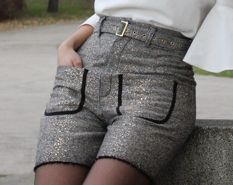 Sparkle detailed shorts with belt