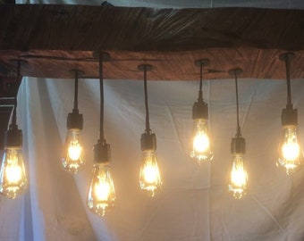 Barn wood beam chandelier
