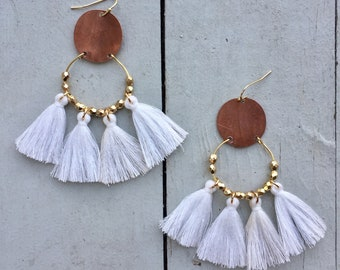 Fan-Tassel Raindrop Earrings