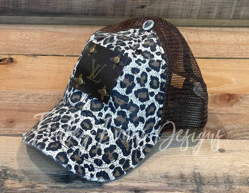 UpcycledRepurposed Authentic Patch Brown Leopard Hat