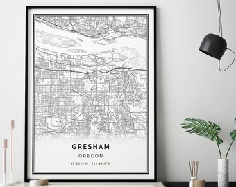 Gresham Map Print | Scandinavian Wall Art Poster | City Maps Artwork |  Oregon Gifts | Poster Map | M258