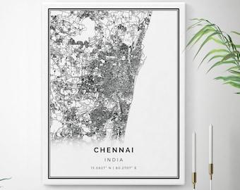 3958fd3d859b Chennai Map Canvas Print