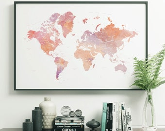 World Map Poster Etsy - Big world map for wall