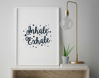 Yoga Zitat Einatmen Ausatmen Inspirierend Zitat Poster, Inspiration Spruch  Wohnkultur, Modernen Druck Geschenk, Skandinavischen Design #150