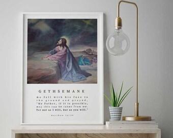 Jesus at Gethsemane Poster, Gethsemane Wall Art, Bible Story Poster, Jesus Wall Art, Christian Painting, Religious Painting, Jesus Art Print