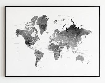 Black And White World Map, World Map Art Print, World Black White, Map  Poster, Large World Map, World Map Wall Art, Travel Map IP690