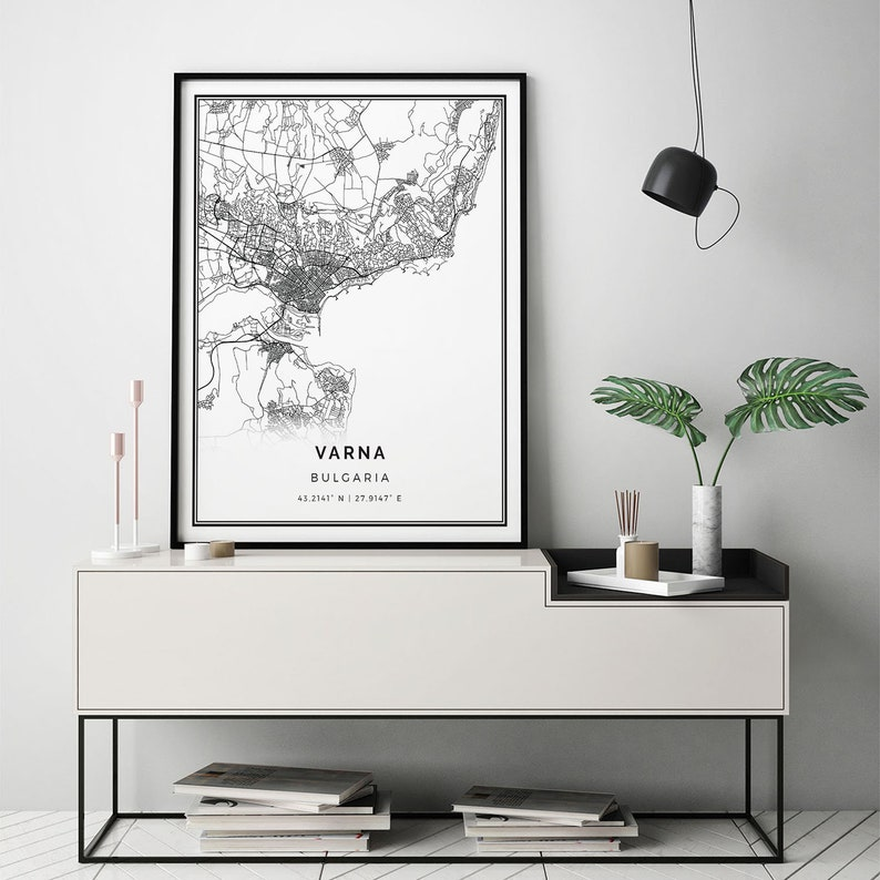 Varna Map Print Scandinavian Wall Art Poster City Maps Etsy