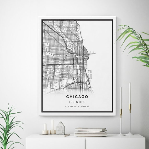 Chicago Map Canvas.Chicago Map Canvas Print City Maps Wall Art Illinois Gift Etsy