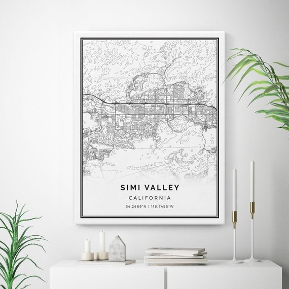 Simi Valley Map Canvas Print, City Maps Wall Art, California Gift  on trinity center map, salinas valley map, fairmont map, thousand oaks map, santa clarita valley map, colton map, hope ranch map, conejo valley map, lehigh valley hospital campus map, chino map, ventura county map, piru map, malibu canyon map, poway map, spring valley lake map, central valley map, west hills map, california map, valley on map, valley village map,