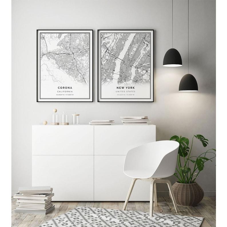 California gifts Poster For Office City maps Artwork Scandinavian wall art poster M153 Corona map print