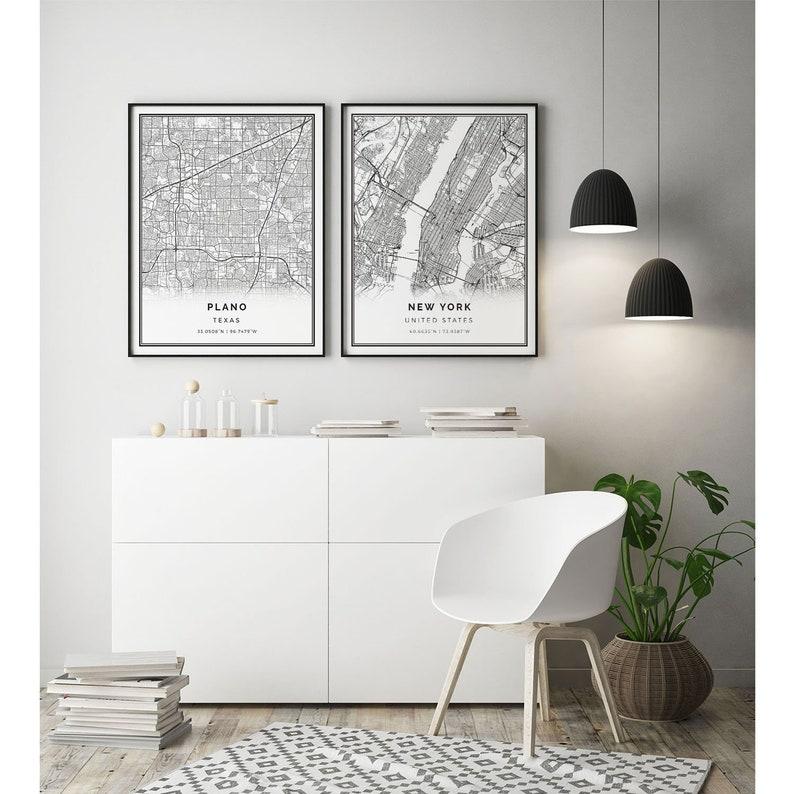 City maps Artwork Wall Art For Bedroom Plano map print M69 Texas gifts Scandinavian wall art poster