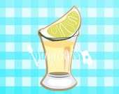 Tequila Shot Glass with Lemon Cookie Cutter, Fiesta, Party, Cinco de Mayo