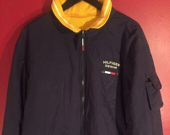 20959e0f 90s Vintage Tommy Hilfiger Navy Blue / Bright Yellow Reversible Jacket | Tommy  Hilfiger Fleece Lined Winter Coat | 90s Clothing Hypebeast