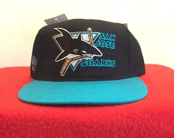 the best attitude 2cb1e bea06 1990 s Vintage San Jose Sharks Spell Out Snap Back Hat - 90s SHARKS NHL Ice  Hockey Team Merch Snapback Hat   90s Clothing Streetwear