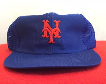 huge discount 16c10 42cdd 1990 s Vintage NY Mets Spell Out Trucker Hat - 90s New York METS MLB  Baseball Team Merchandise Snap Back Hat   90s Clothing