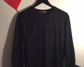 52f75d6af393 90's Vintage PRADA Long Sleeve Tee Shirt | PRADA Logo Spell Out T Shirt |  90s Clothing Hypebeast Designer Brand Name
