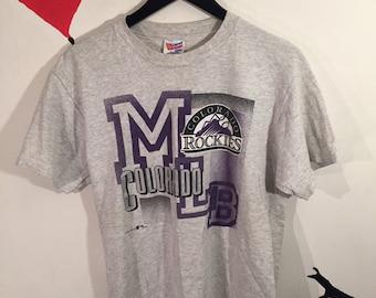 cdd7b3428 1993 Vintage Colorado Rockies Big Graphic Tee Shirt - 90s ROCKIES MLB  Baseball Team Merch T-Shirt