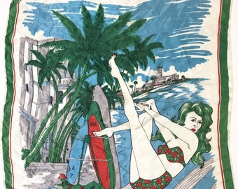 Vintage Scarf Beach Sunbathers Woman Ladies Bikini Seaside Scenic Tropical Surfboard