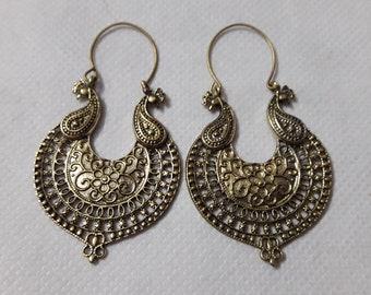 Handmade 92.5 Sterling Silver Boho Gypsy Hoop Earring Ethnic Style Tribal Banjara Indian Beautiful Light Weight VeryComfortable Earring Pair