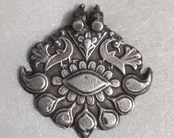 Handmade Glass Framed Indian Miniature Art Fifth Chakra Throat or Vishuddhi Chakra 92.5 Sterling Silver Pendant Size 2.3 Cm.