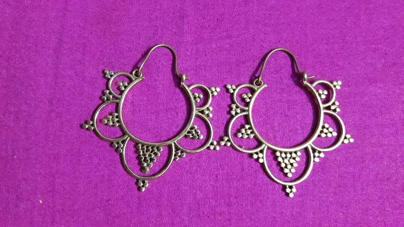 Earrings Handmade Handcrafted Solid Yellow Brass Earring Pair Designing Charm Earrings