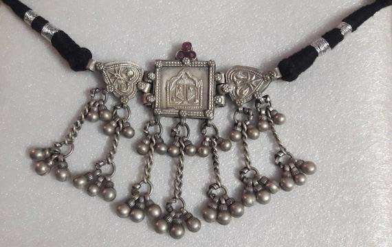 Vintage1970s Pendant Handmade High Grade Sterling Silver Goddess Maa Lakshmi Pada Pendant Rajasthan Tribal Pendant Footprint Antique Pendant