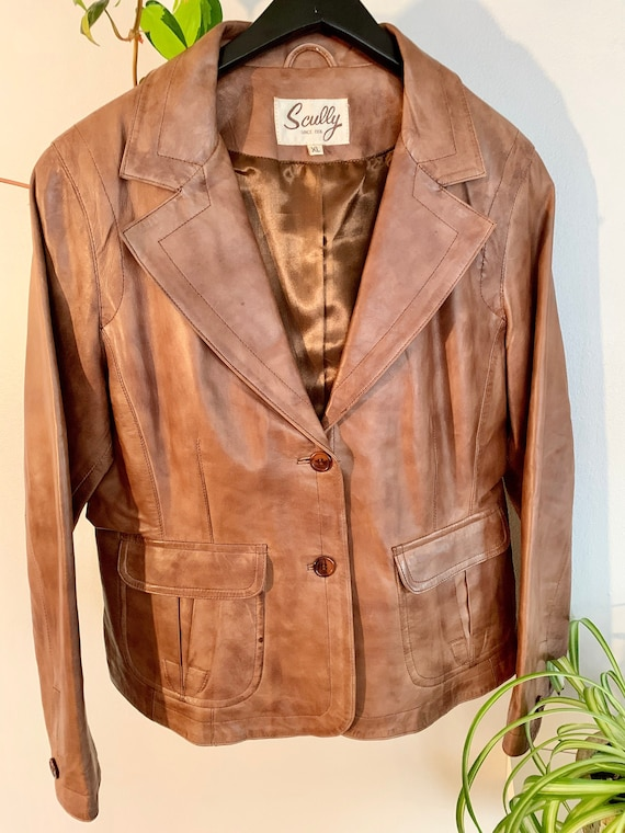 Vintage Brown Leather Scully Jacket