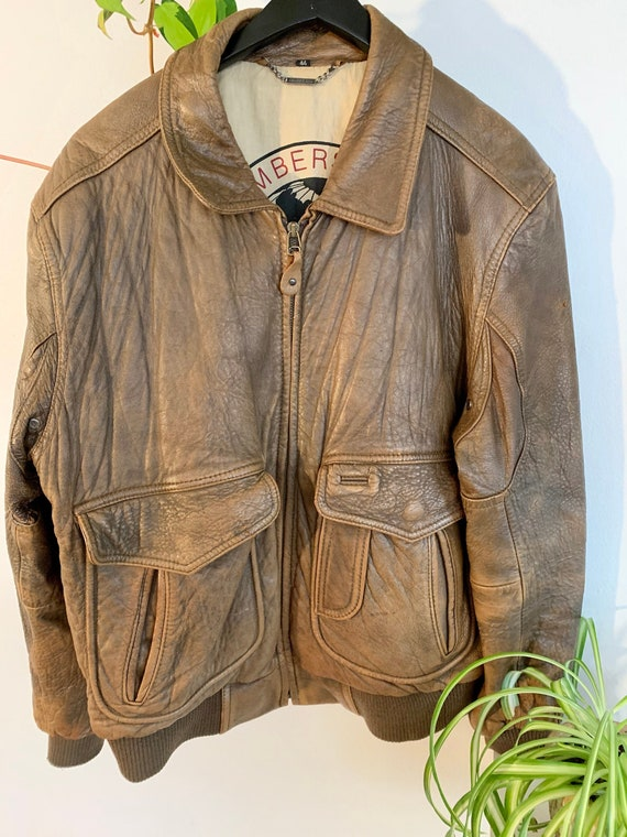 Vintage Brown Leather Members Only Flight Bomber J